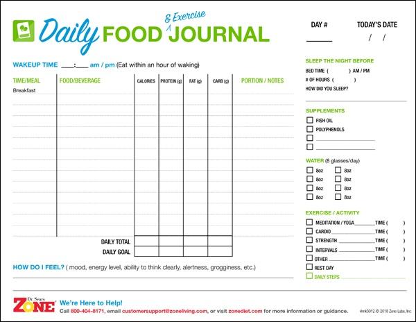 zone diet food journal